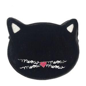 Lily Bloom Bags - Lily Bloom Black Velvet Kitten Shaped Crossbody